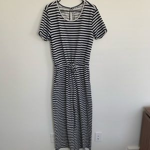 Navy and white striped jumpsuit/romper